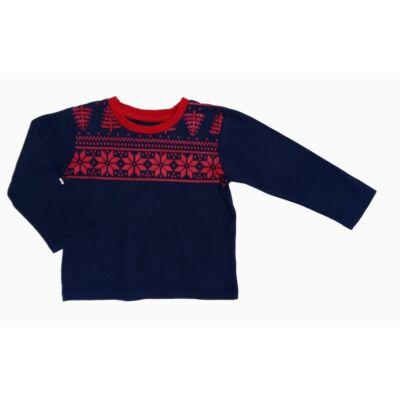 Kék-piros kötött mintás póló (110)