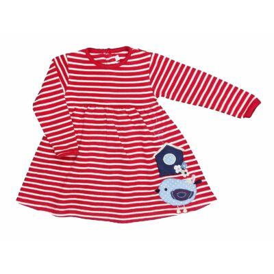 Piros csíkos-madaras ruha (86)