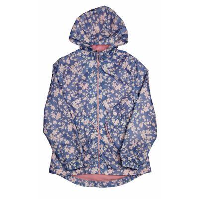 Kék, rózsaszín virágos átmeneti kabát (164)