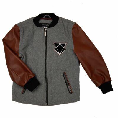 Szürke, barna gyapjús átmeneti kabát (122)
