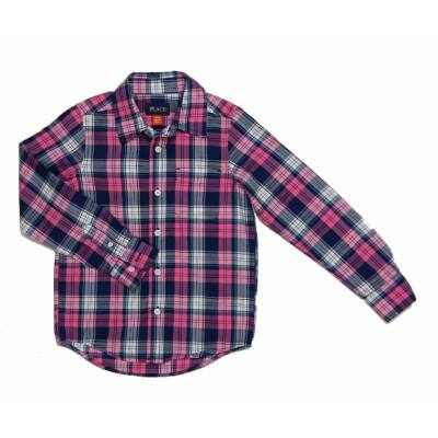 Pink-kék kockás ing (116)