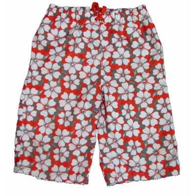 Piros-szürke virágos short (152)