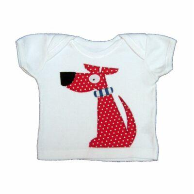 Piros pöttyös kutyás póló (62)