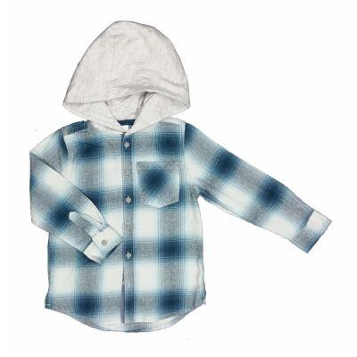 Kék-szürke kockás kapucnos ing (110)