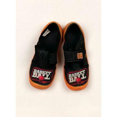 Fekete-narancs vászoncipő (31-es)