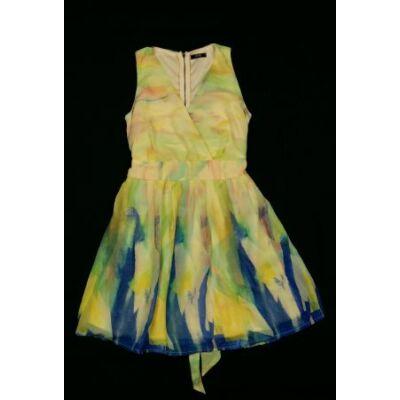 Sárga-kék-zöld muszlinruha (S)
