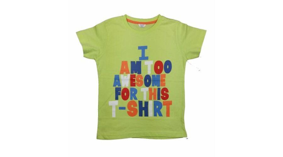 ce7b7b3960 Zöld feliratos póló (116) - 116-122 (5-7 év) - Minőségi angol használt és  új gyerekruhák
