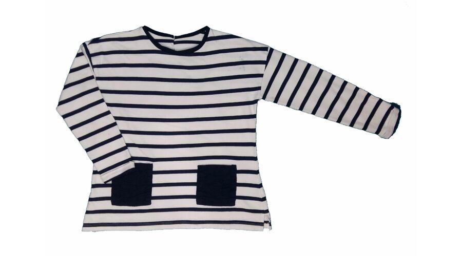 0f933554ab Kék-fehér csíkos pulcsi (128) - 128-134 (7-9 év) - Minőségi angol használt  és új gyerekruhák