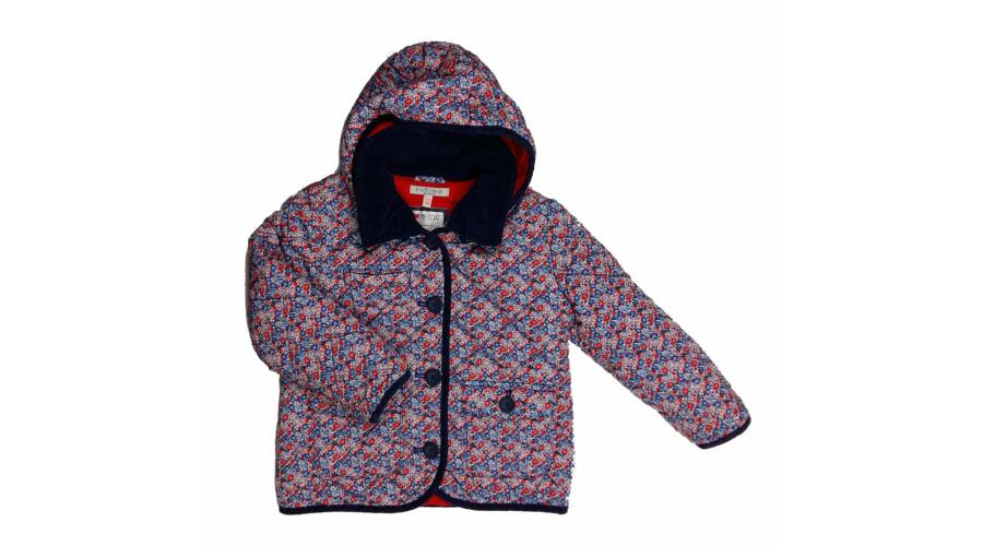 Kék-piros virágos steppelt átmeneti kabát (110) - 104-110 (3-5 év) -  Minőségi angol használt és új gyerekruhák 75f3b43389