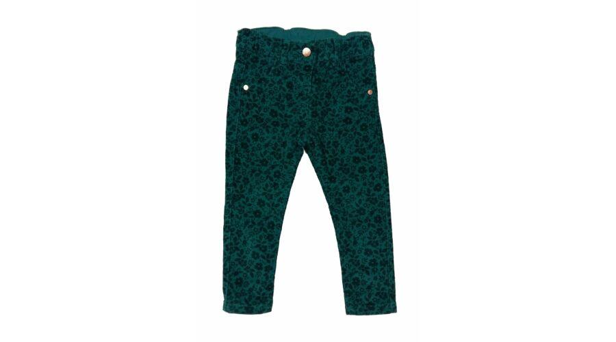 310e7ed02f Zöld virágos elasztikus kordnadrág (92) - 92-98 (1,5-3 év) - Minőségi angol  használt és új gyerekruhák
