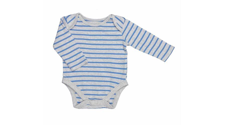 Kék-szürke csíkos body (62) - 56-62 (0-3 hónap) - Minőségi angol használt  és új gyerekruhák 64ffab1880