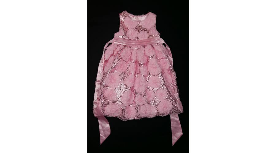 c7fe0d56b5 Rózsaszín flitteres-virágos alkalmi ruha (110) - 104-110 (3-5 év) -  Minőségi angol használt és új gyerekruhák