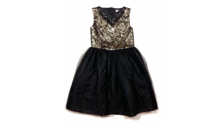 F&F fekete fehér csíkos kislány alkalmi ruha