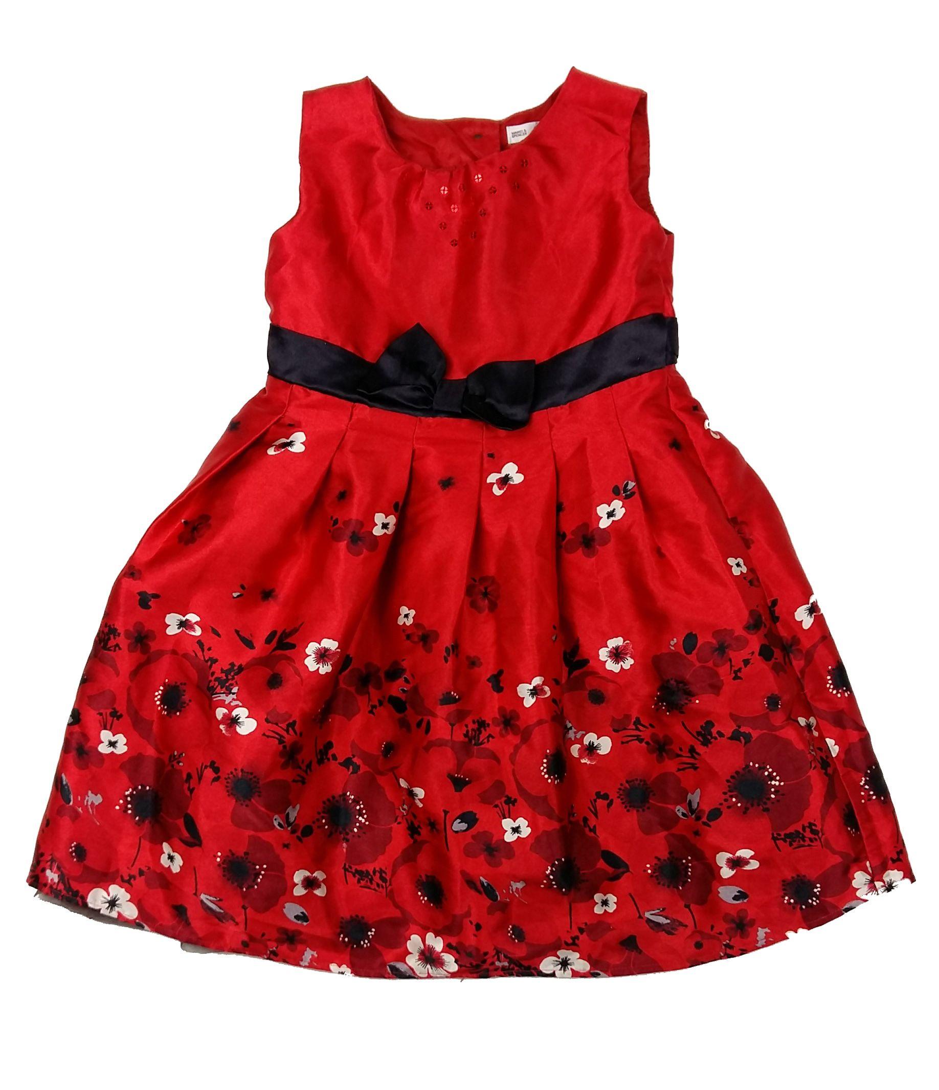 7cc19b0054 Piros virágos alkalmi ruha (110) - 104-110 (3-5 év) - Minőségi angol  használt és új gyerekruhák